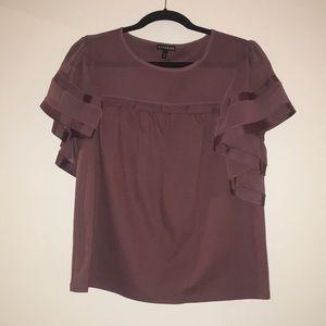 Express purple ruffle sleeve blouse